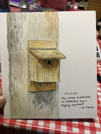 painting of a bird house on a tree
